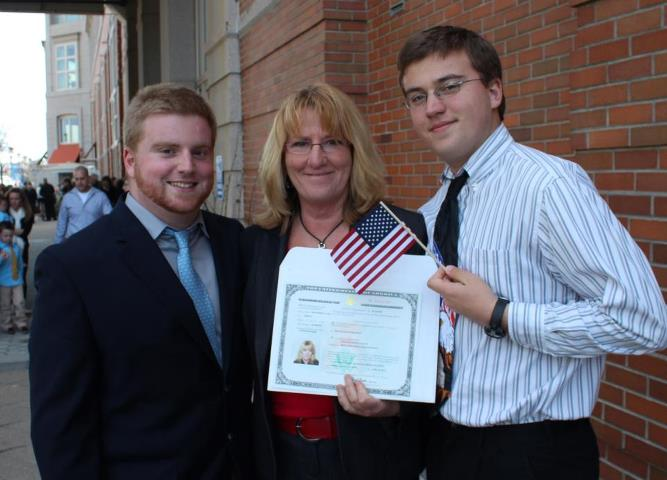 Louise after becoming an American citizen with her sons.