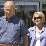 Larry Craig and his wife Suzanne at the press conference. Nice glasses.